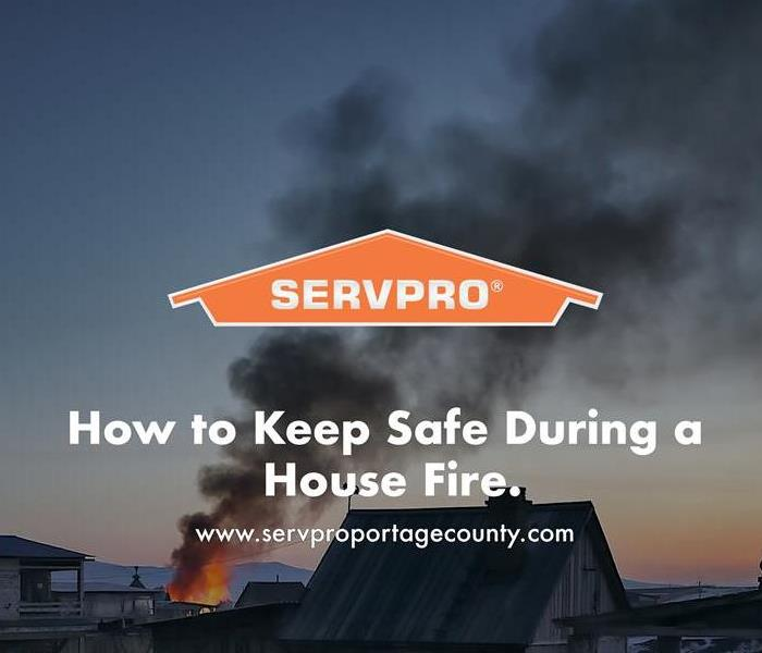 Orange SERVPRO  house logo on image with house fire.
